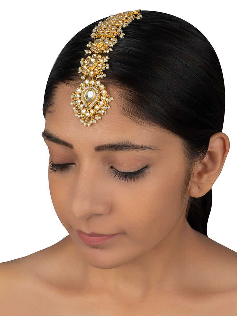 White Floral Paan Jadau Belt Gold Plated Maang Tikka - Mortantra