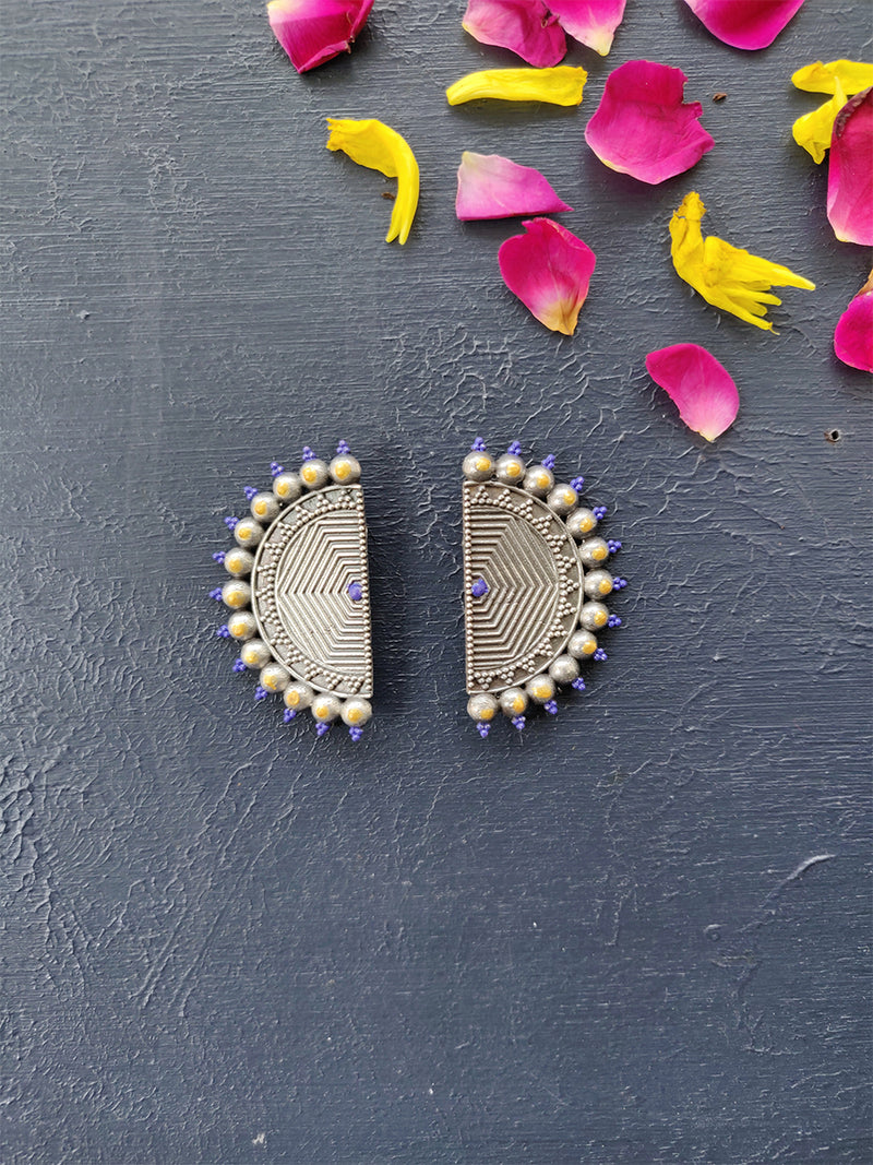Navratri Collection Silver Finish Earrings