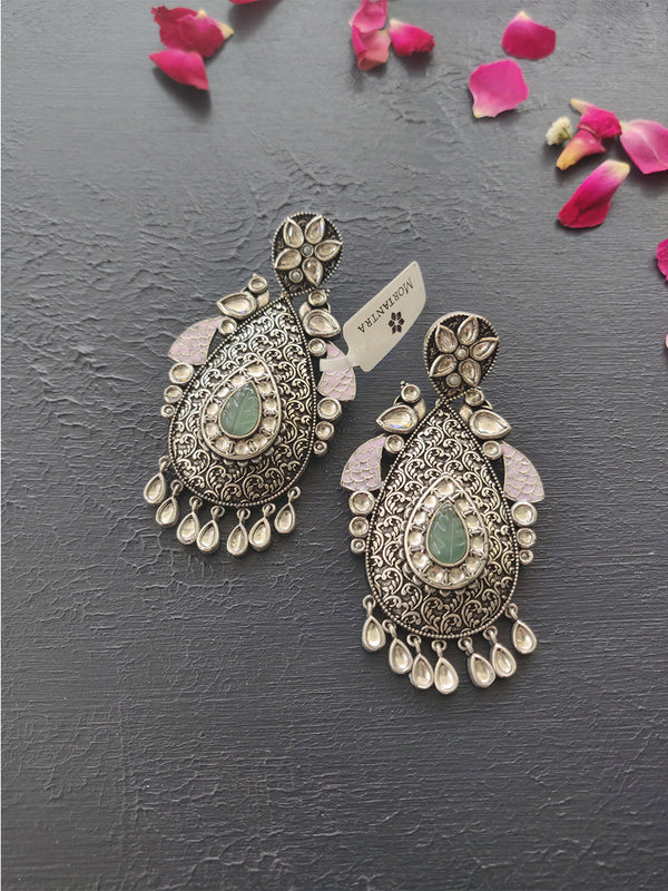 Navratri Collection Silver Finish Earring