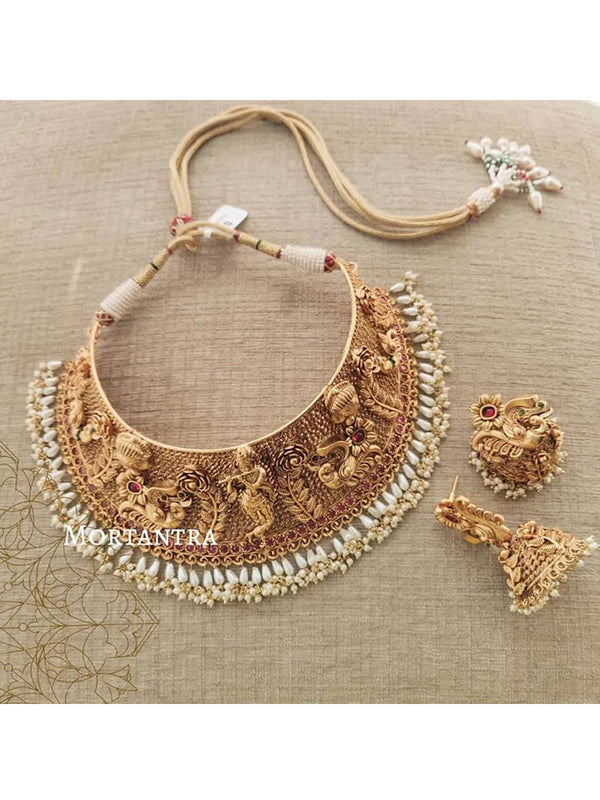 Krishna Figure Studded Temple Choker Set