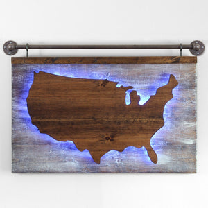 Lighted Wood US Map