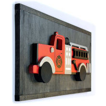 Load image into Gallery viewer, 3D Vintage Firetruck Wood Sign