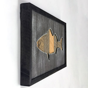 Rustic Framed Bass Sign From Reclaimed Wood
