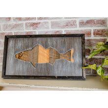 Load image into Gallery viewer, Rustic Framed Bass Sign From Reclaimed Wood