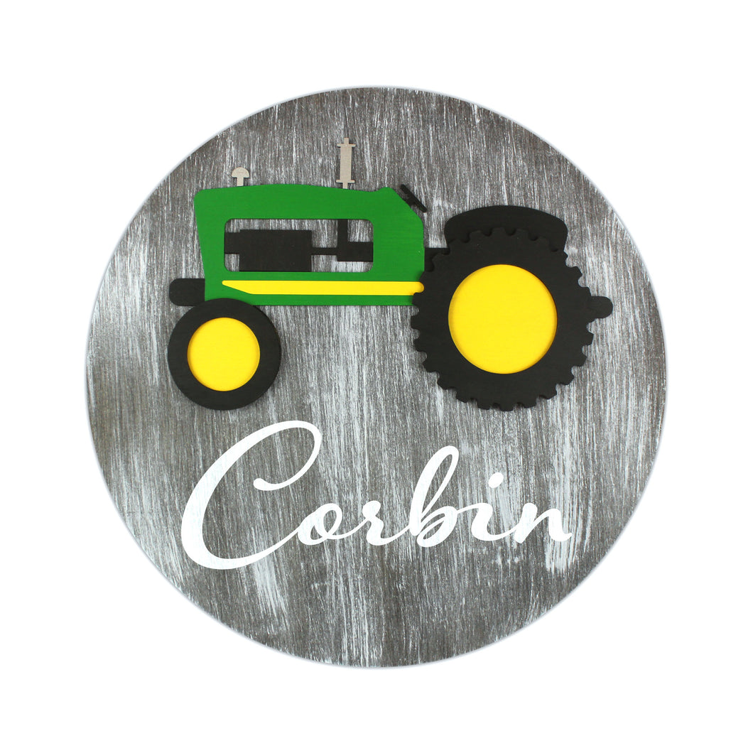 Round Tractor Personalized Sign