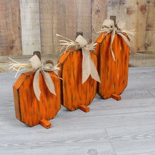Load image into Gallery viewer, Rustic Wood Pumpkin Set of 3