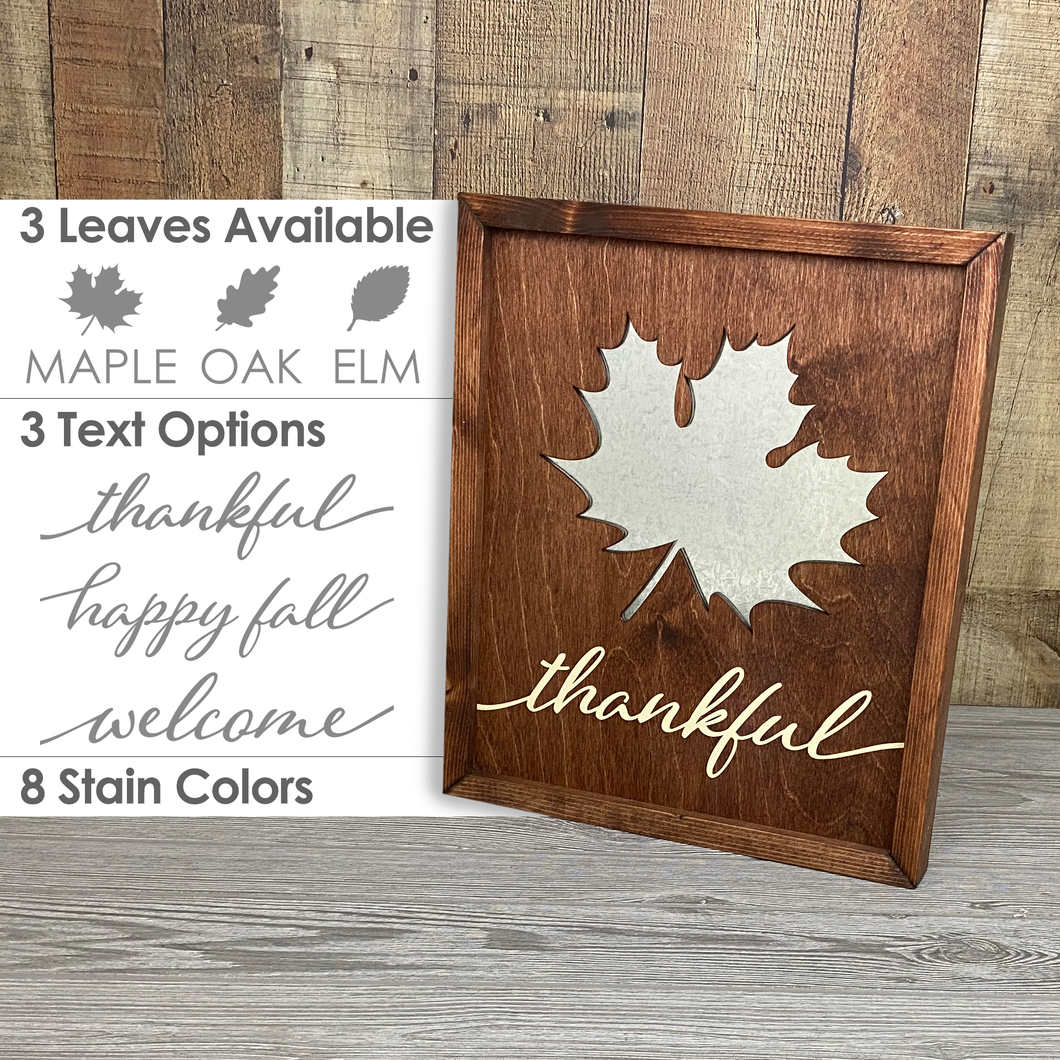 Fall Leaf Sign - Galvanized Metal and Wood Sign