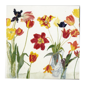 Dame Elizabeth Blackadder ' Purple Irises and Red and Yellow Tulips ' Set of cards