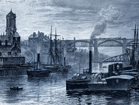 From a drawing by Robert Jobling, 'River Tyne ferry at Newcastle 1885'