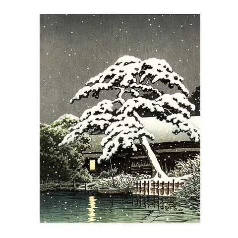 Kawase Hasui, 'Christmas Card Pack: Snow at Funabori'