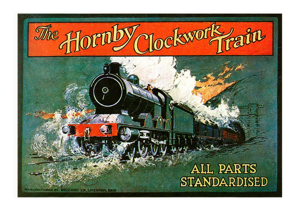 'Hornby Train Set box label 1921', image restored at Newcastle Arts Centre