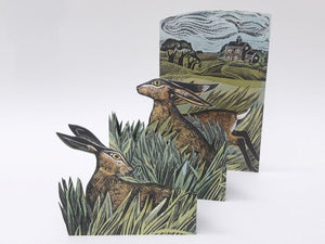 Angela Harding, 'Hares and Open Fields' Concertina Card