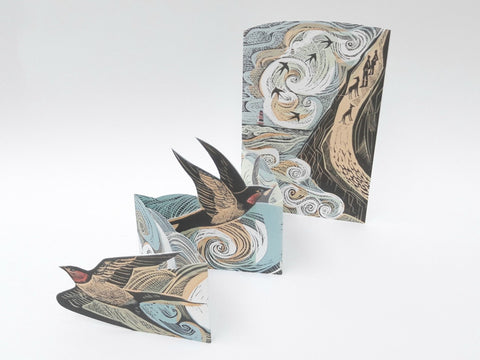 Angela Harding, 'Cornish Swallows' Concertina Card