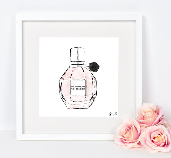 Flowerbomb Print, Perfume Bottle - Limited edition fashion illustration