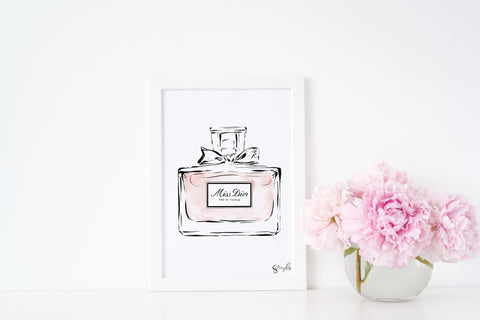 Miss Dior Print, Perfume Bottle - Limited edition fashion illustration