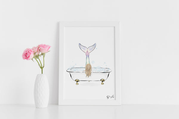 There's a Mermaid in my Bathtub - Limited edition fine art print, customised