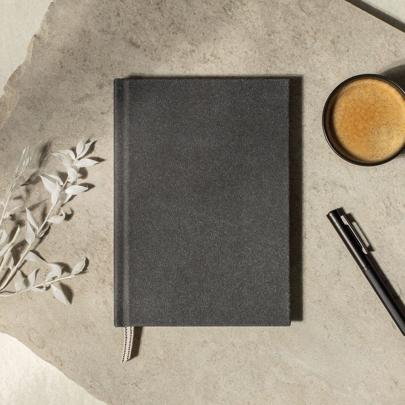 Recycled leather layflat notebook