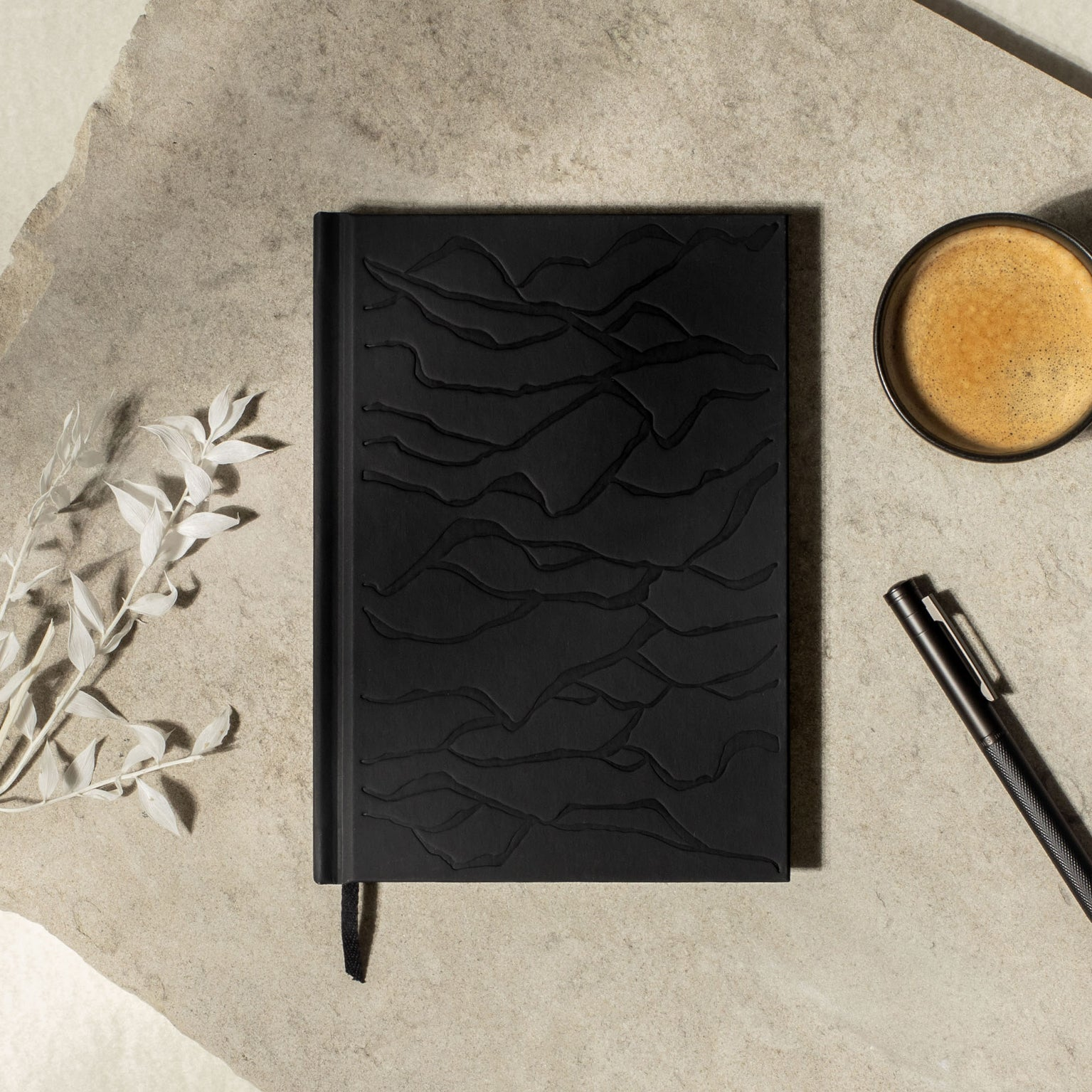 Waves matte black hardcover layflat notebook