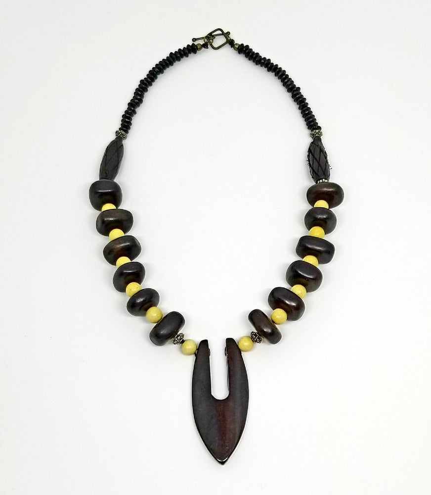 Deep Brown Bone Necklace w/Yellow