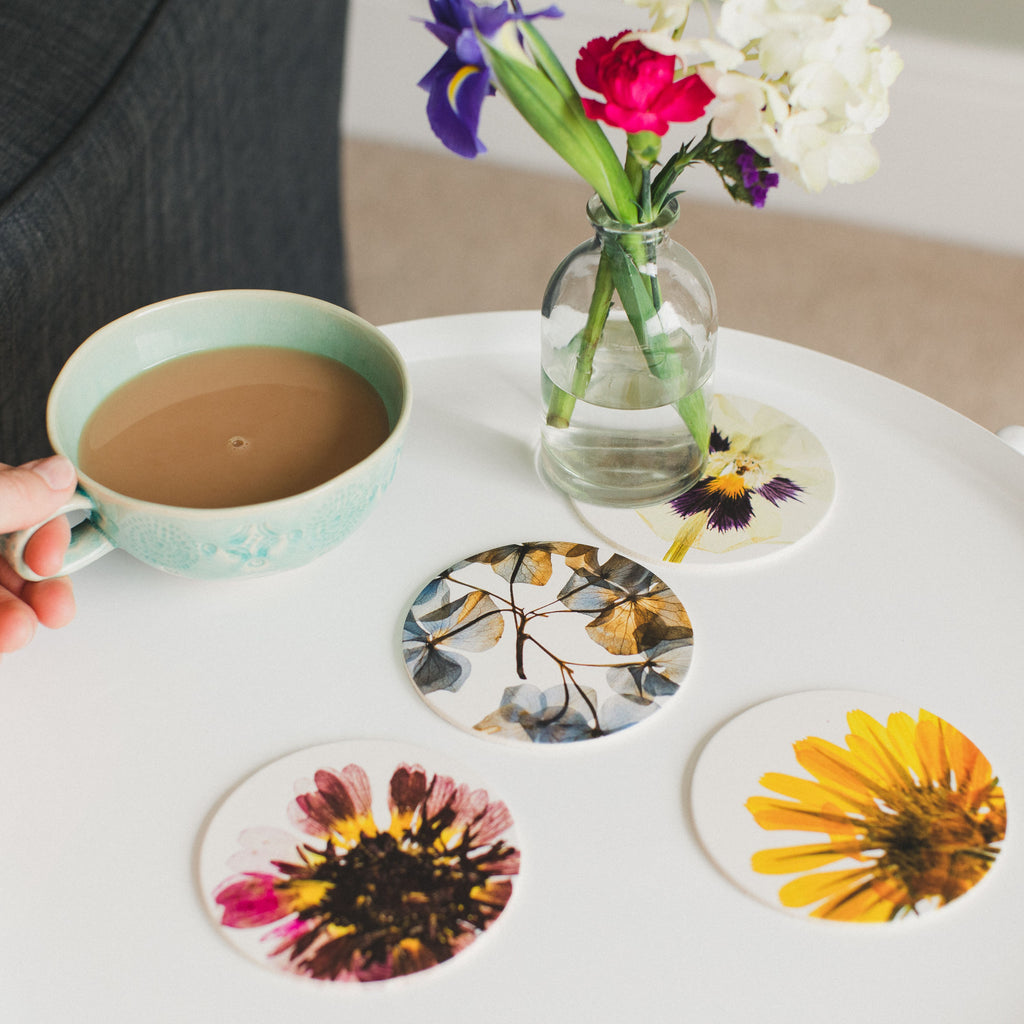 Set of 4 Pressed Flower Coasters