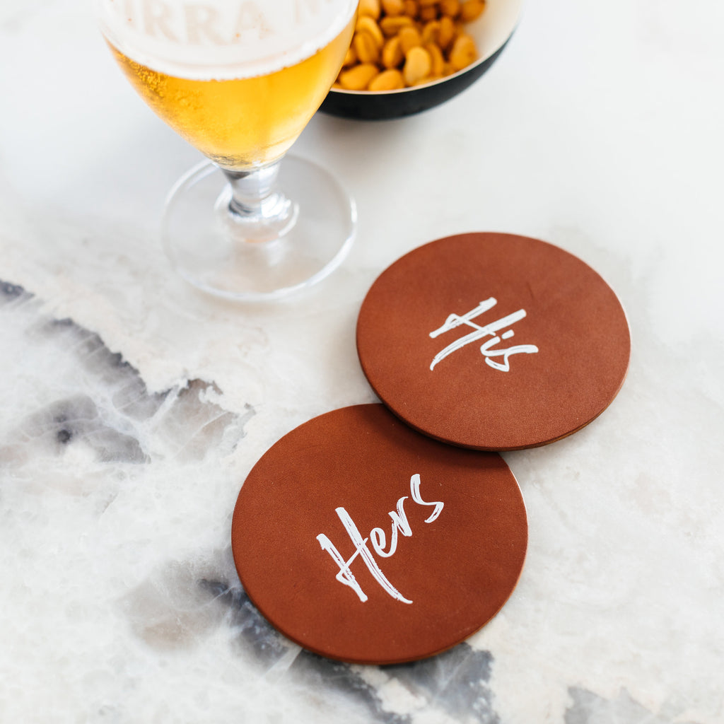 Pair of His & Hers Coasters