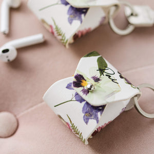 Pressed Flowers AirPods Case with Keyring Loop