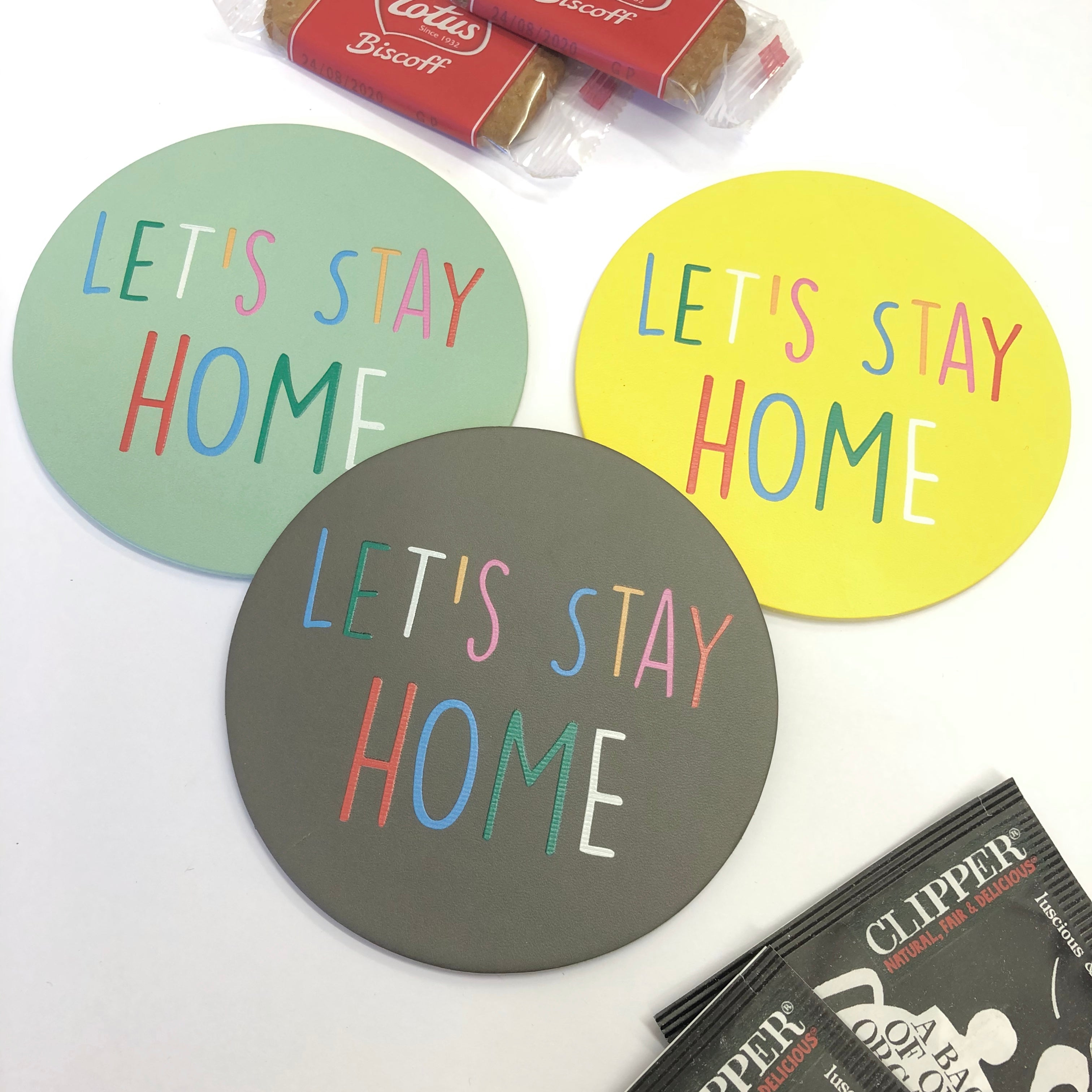 Pair of Let's Stay Home Coasters Gift Set