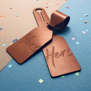 Pair of His & Hers Large Luggage Tags