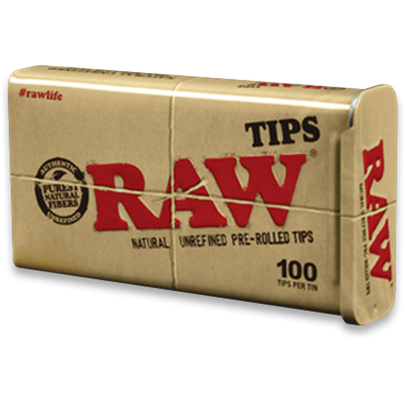 RAW Pre-Rolled Tips Tin 100 Pack.