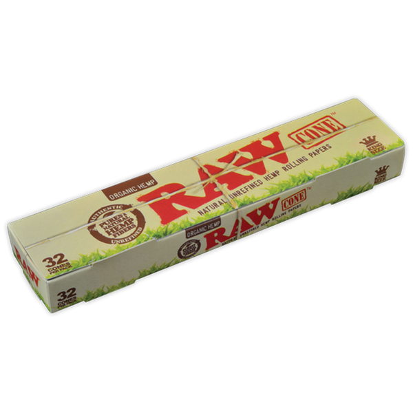 RAW Organic Hemp Kingsize Cones 32 Pack.