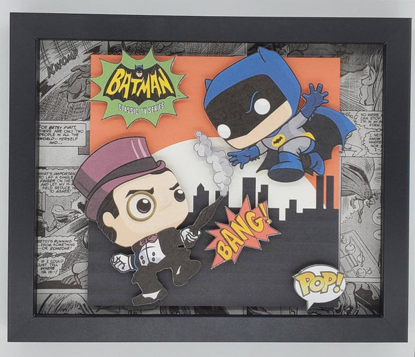 Classic 60's Batman & Penguin Funko Shadow Box, 3D Art