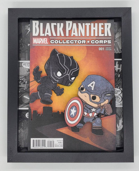 Black Panther & Captain America Funko Shadow Box, 3D Art