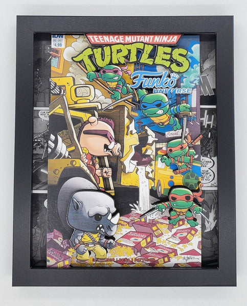 Teenage Mutant Ninja Turtles w/ Rocksteady & Bebop Funko Shadow Box, 3D Art