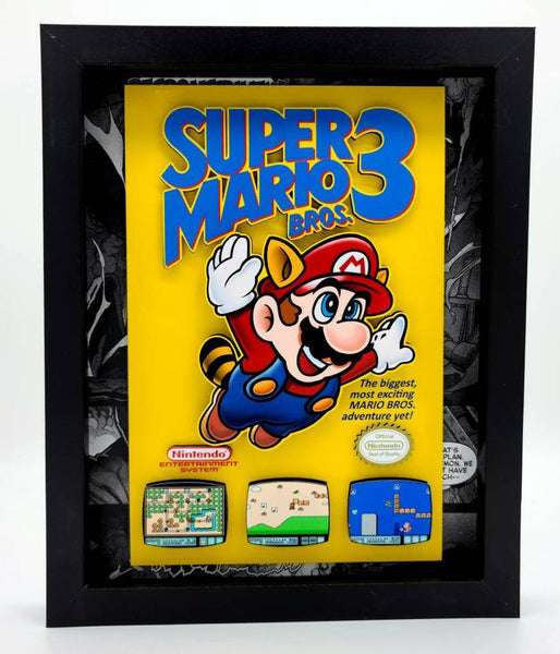 Super Mario Brothers 3 Video Game Shadow Box, 3D Art