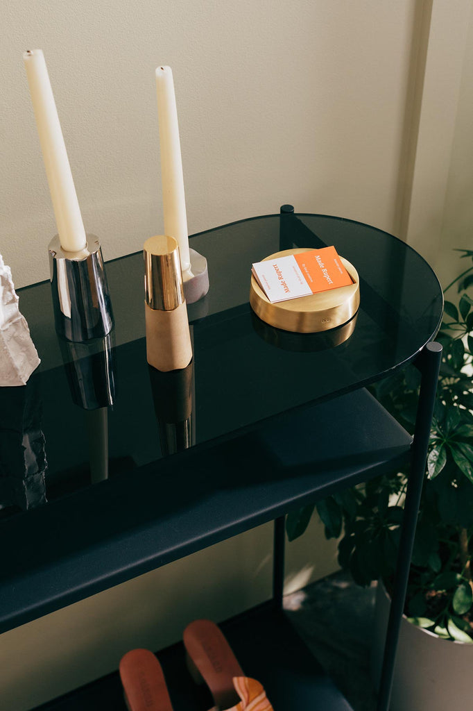 candlesticks and business cards