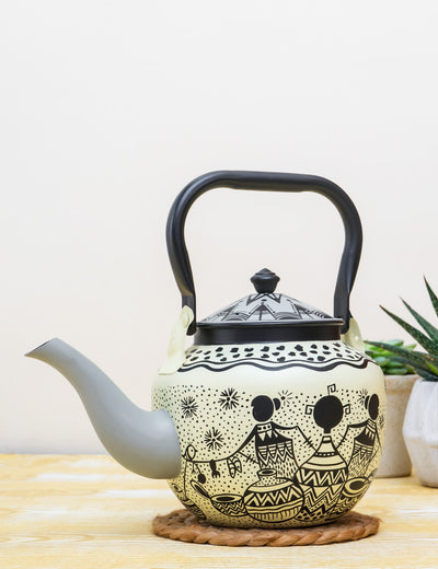 Buy Afro Town Hand Painted Stainless Steel Kettle White Tea Pot Online in India