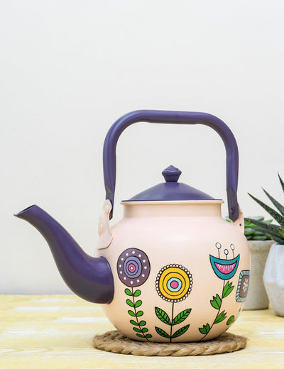 Buy Burgeon Foreshore Hand Painted Stainless Steel Kettle Peach Tea Pot Online in India