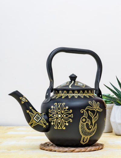Buy Coppery Mandana Hand Painted Stainless Steel Kettle Black Tea Pot Online in India