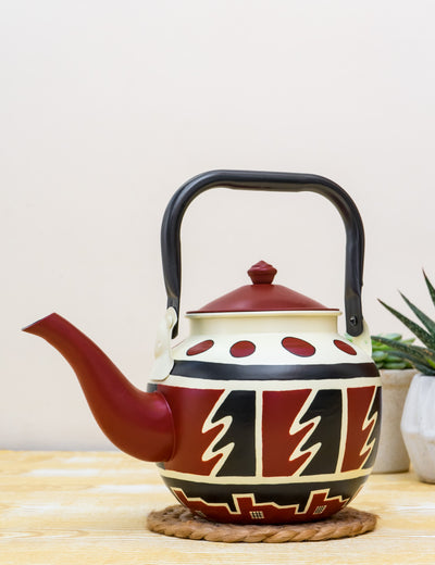 Buy Gawking Terrain Hand Painted Stainless Steel Kettle Maroon Tea Pot Online in India