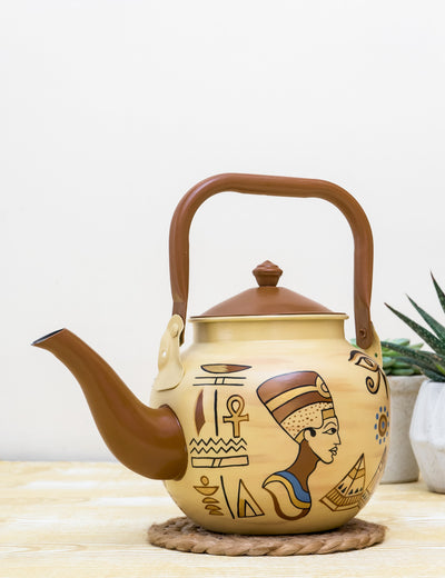 Buy Giza Narrative Hand Painted Stainless Steel Kettle Brown Tea Pot Online in India
