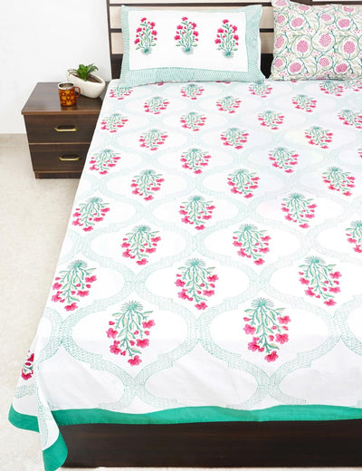Buy Mughal Garden King Size Bed Sheet with Pillow Covers Premium Quality Hand Block Printed Bed Cover Online