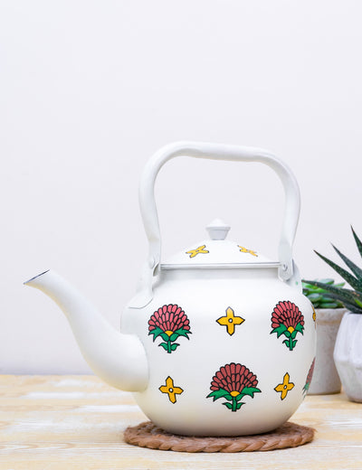 Buy Sanganer Bloom Hand Painted Stainless Steel Kettle White Tea Pot Online in India