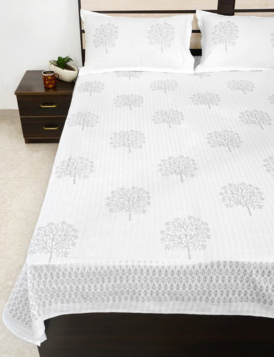 Buy Silvered Yard King Size Bed Sheet with Pillow Covers Premium Quality Hand Block Printed Bed Cover Online