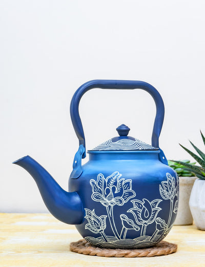 Buy Thangka Lagoon Hand Painted Stainless Steel Kettle Blue Tea Pot Online in India