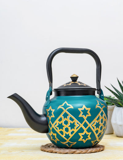 Buy Turq Persh Hand Painted Stainless Steel Kettle Turquoise Tea Pot Online in India