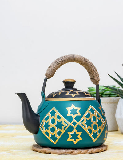 Buy Turq Persh Hand Painted Stainless Steel Wedge Kettle Turquoise Tea Pot Online in India
