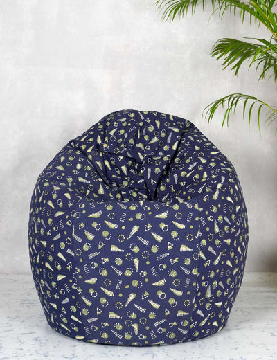Buy blue color hand block printed cotton bean bag covers online india at soulcraf.com