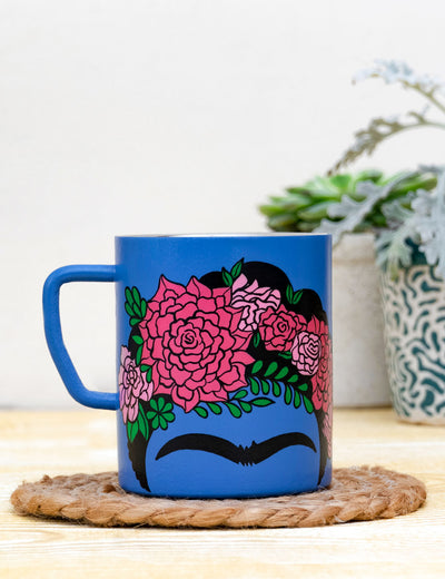 Buy blue handmade ceramic mug for gifting dual layer mug online at soulcraf.com