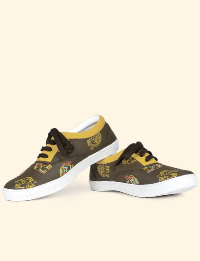 Buy brown hand painted women sneakers canvas shoes online India at soulcraf.com