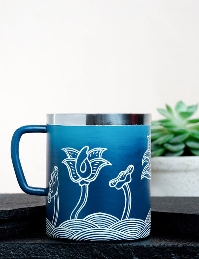 Buy handcrafted metal coffee cup thangka lagoon online india by soulcraf.com